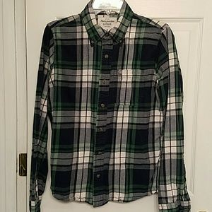 Abercrombie and Fitch Navy and Green Plaid Shirt S